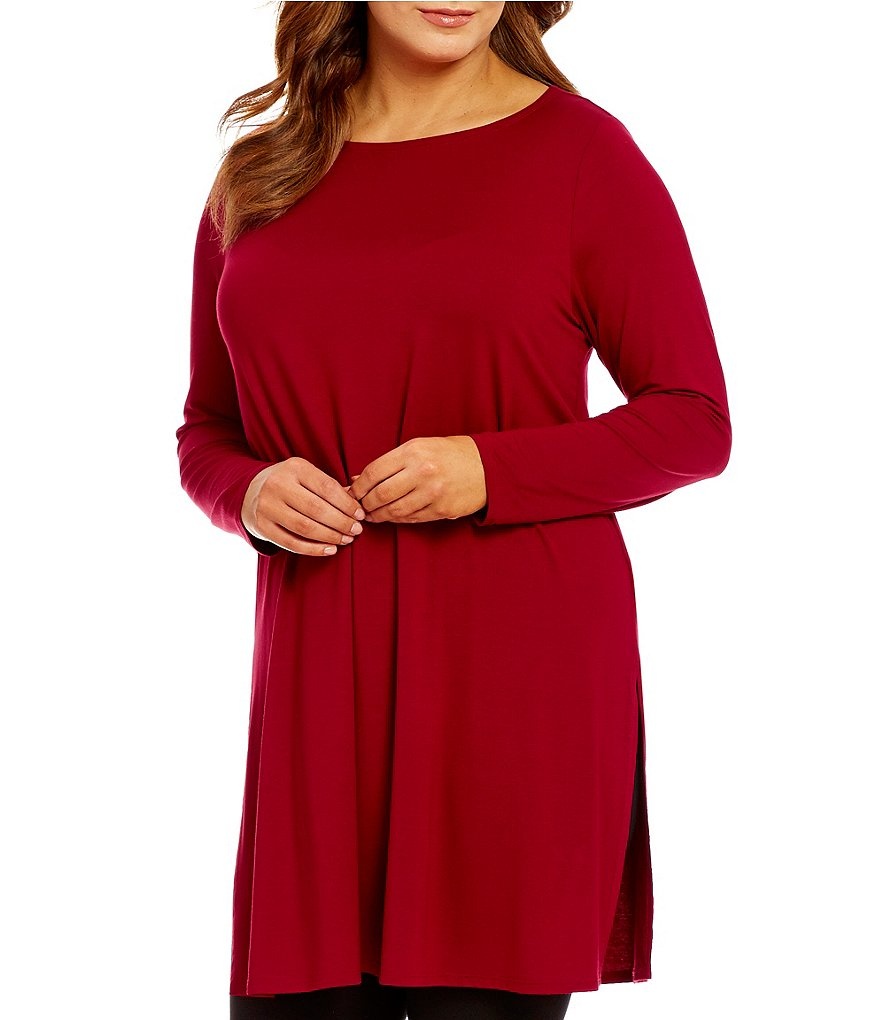 Eileen Fisher Plus Lightweight Viscose Jersey Ballet Neck Tunic