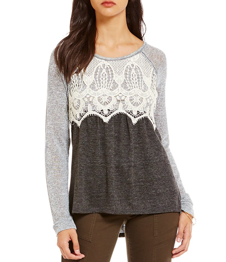 Jolt Lace Bodice Raglan Long-Sleeve Top