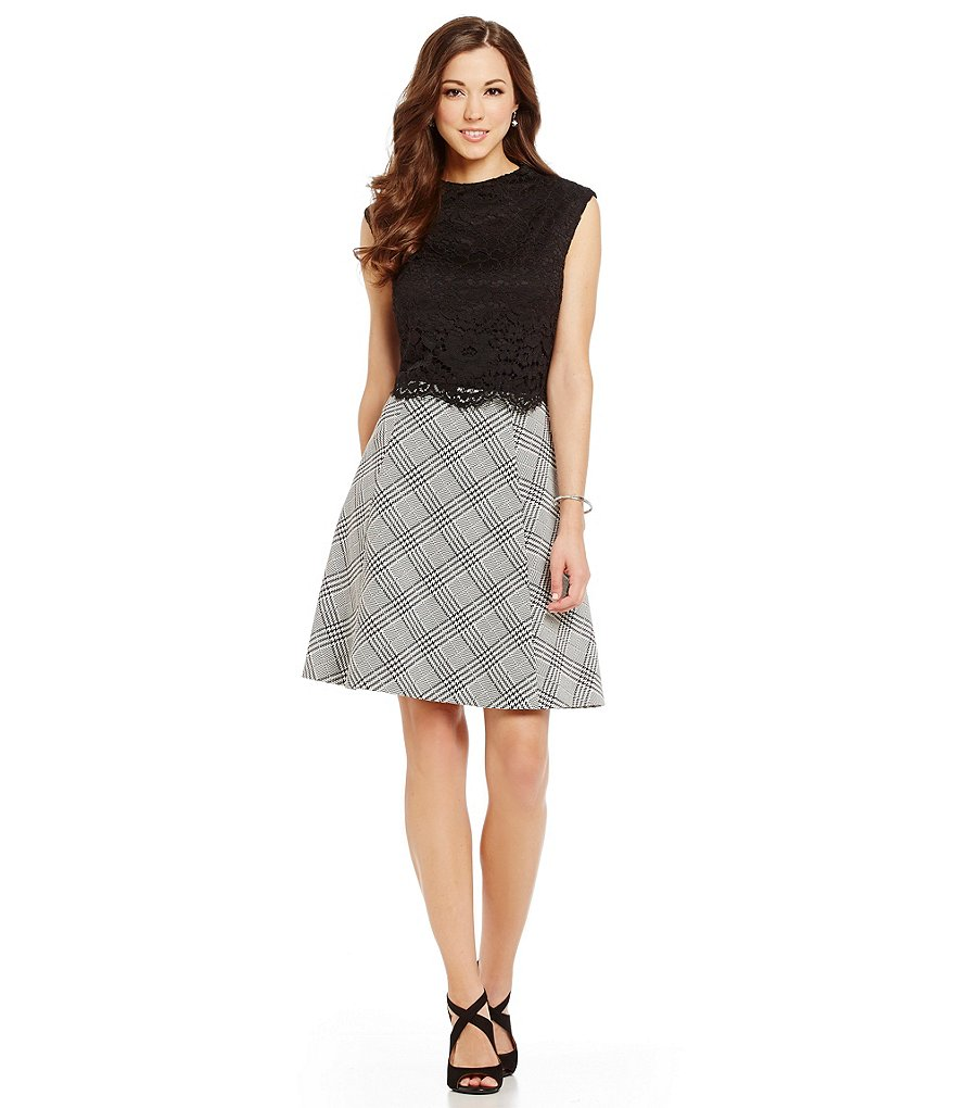 Antonio Melani Georgina Plaid/Lace Sleeveless Dress