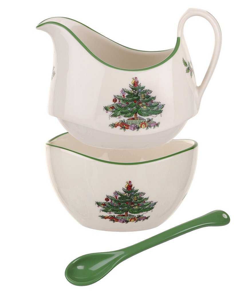 Spode Christmas Tree 3-Piece Stacking Sugar, Creamer & Spoon Set