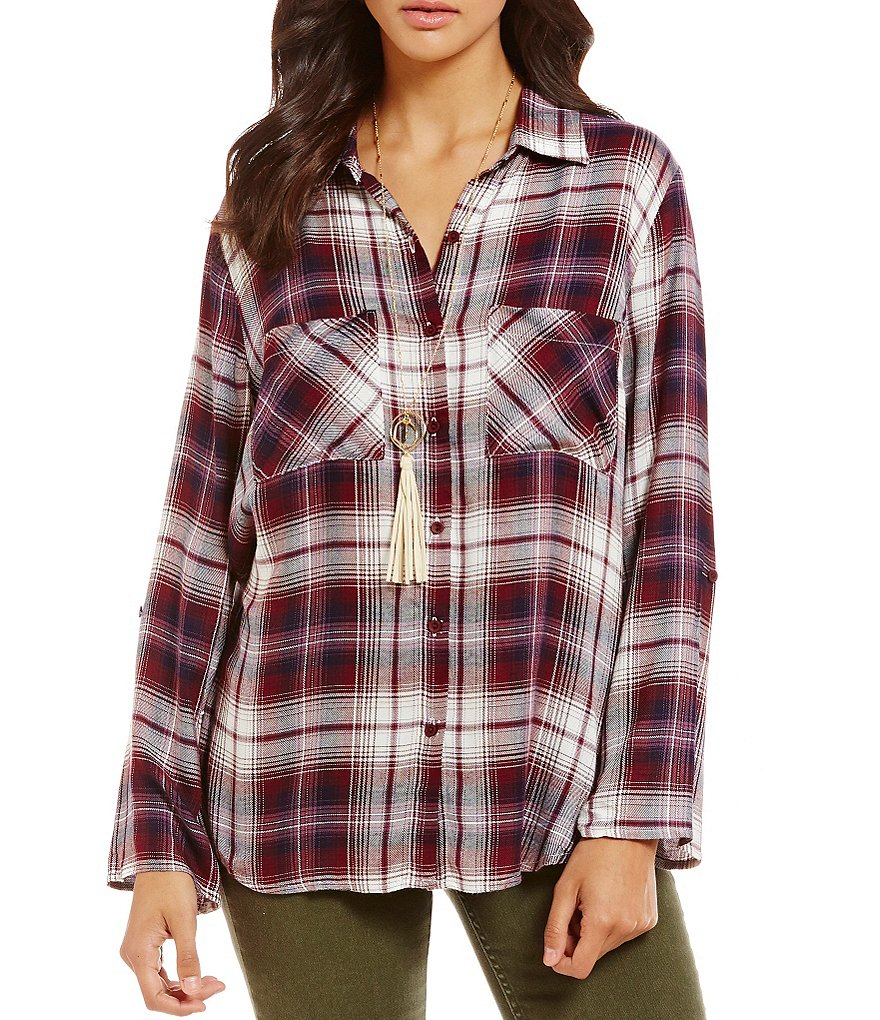 Timing Long Sleeve Button Front Plaid Top