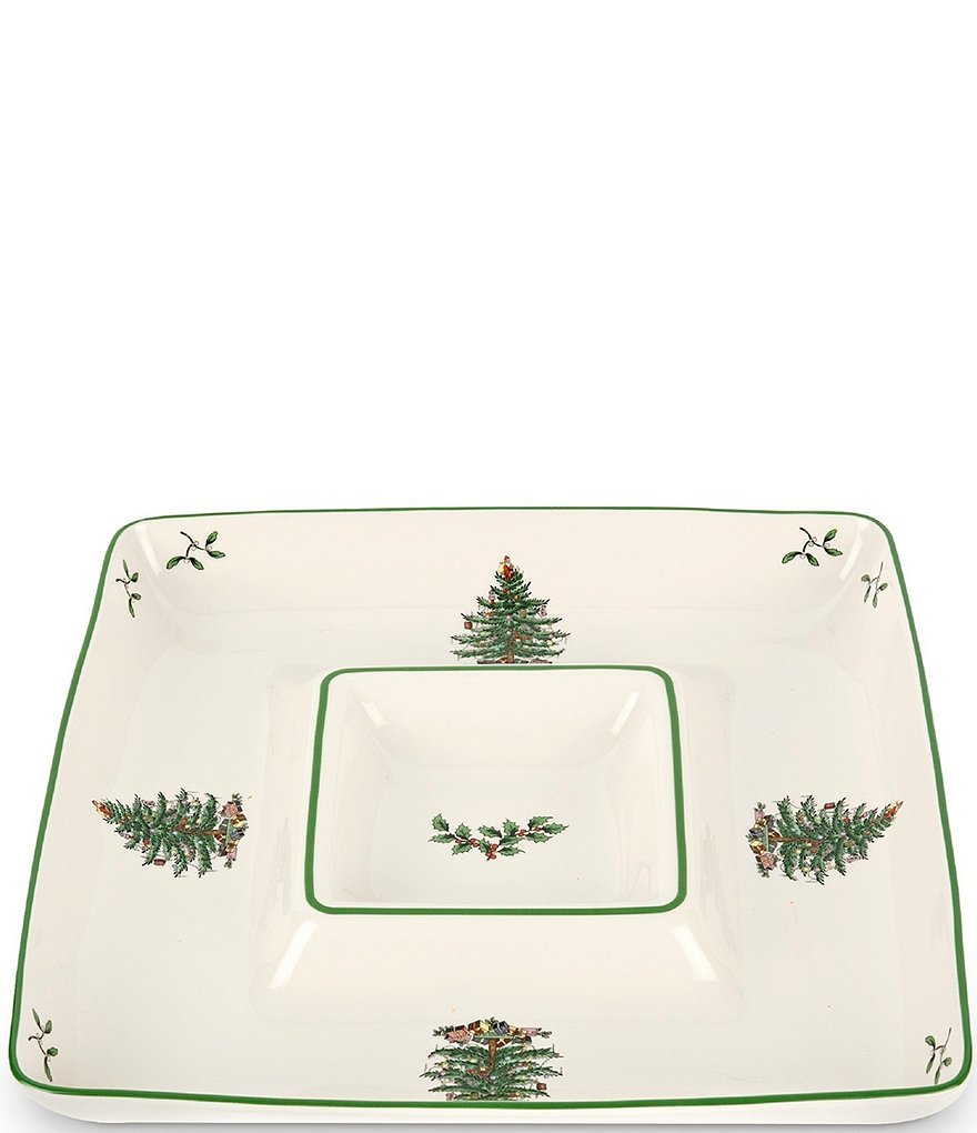 Spode Christmas Tree Square Chip & Dip Server