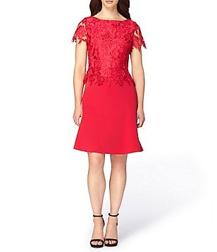 Tahari ASL Crepe/Lace Popover Bodice Boat Neck Short Sleeve A-line Dress