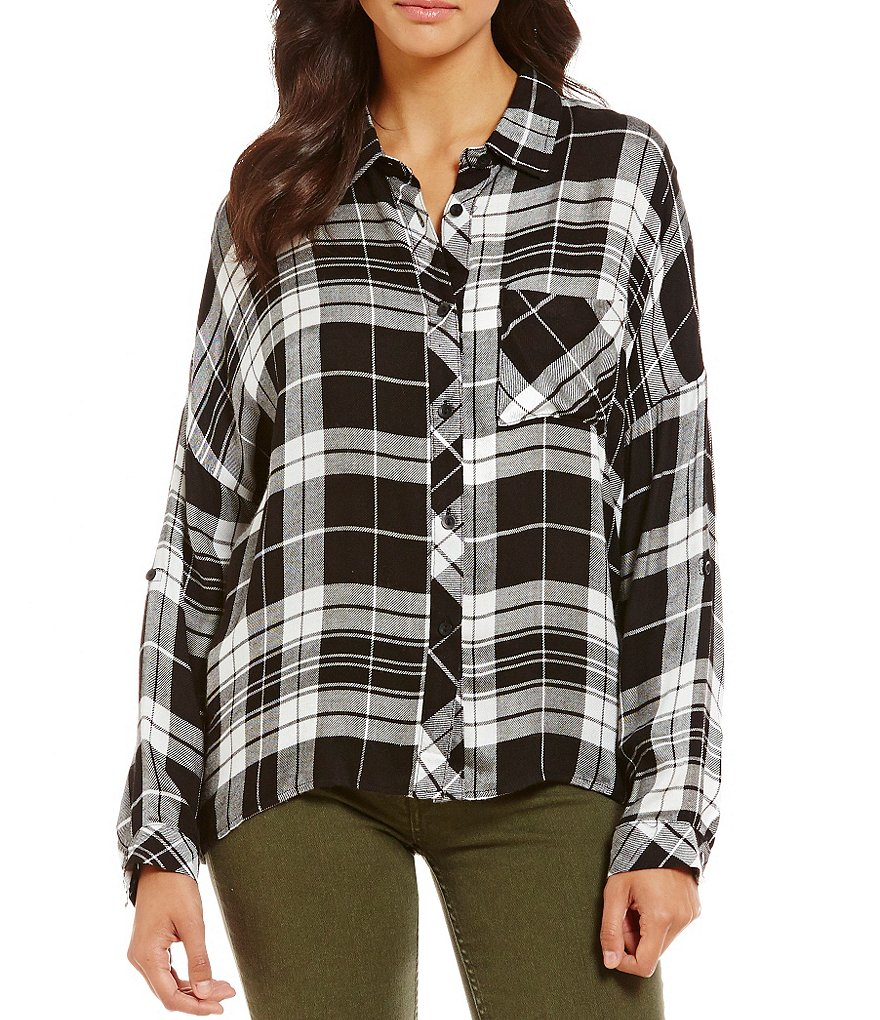 Timing Roll-Tab Boxy Button Front Plaid Top