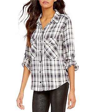 Sanctuary Plaid Button-Down Roll-Tab Sleeve Oversized Boyfriend Blouse