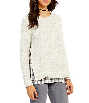 Sanctuary One N Done Crew Neck Side Slid Plaid Underlayer Sweater