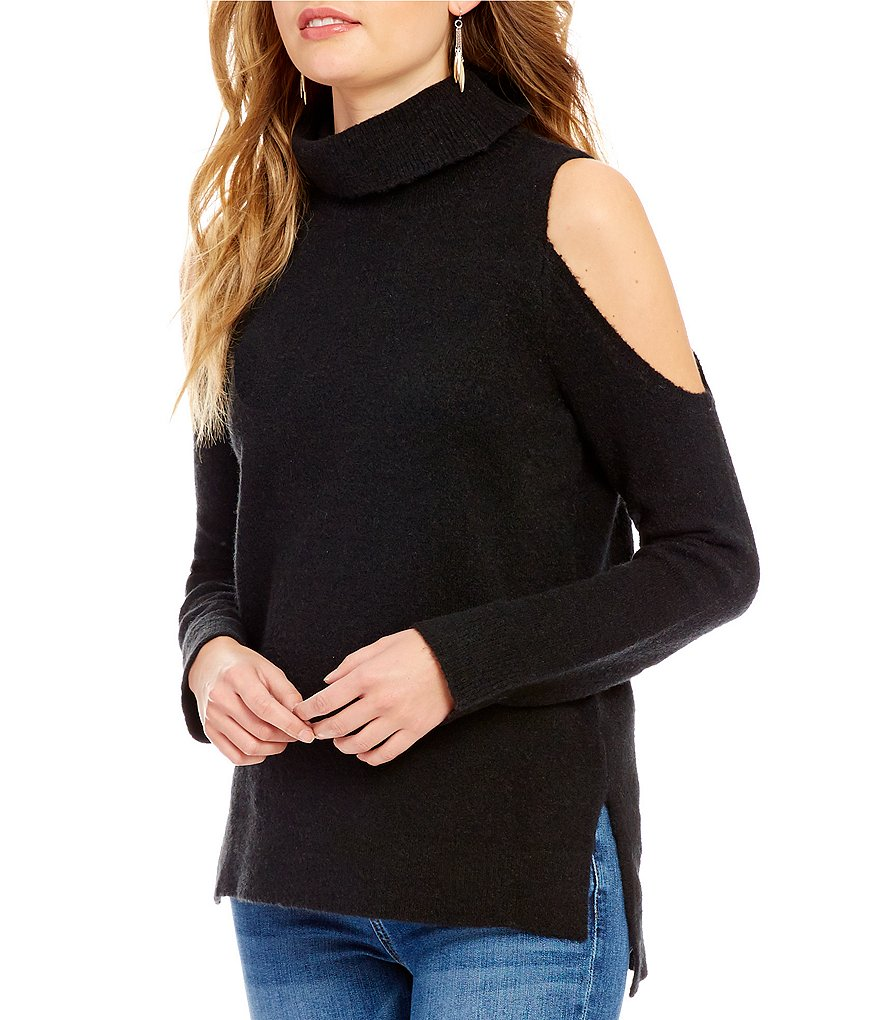 Sanctuary Cold-Shoulder Turtleneck Sweater