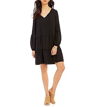 Sanctuary Lana V-Neck Lantern Sleeve Flock Dot Boho Dress