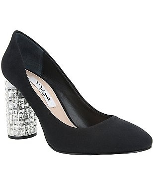 Nina Idabell Crystal Embellished Block Heel Pumps