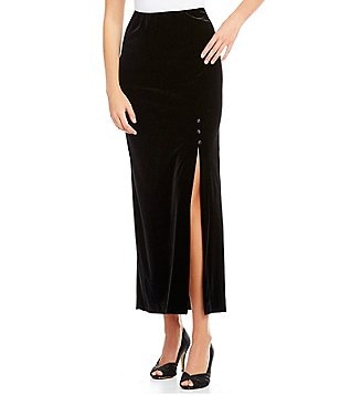 Alex Evenings Petite Button Detail Side Slit Velvet Skirt