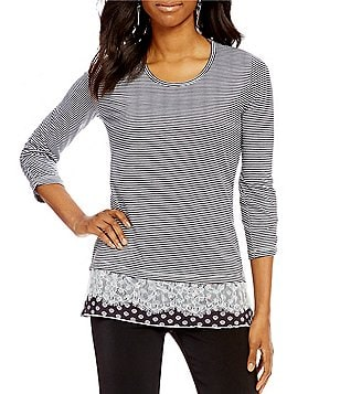 Multiples 3/4 Bungee Sleeve Hi-Low Lace Accent Print Knit Top
