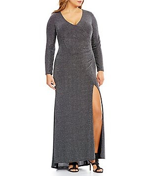 Vince Camuto Plus V-Neck Long Sleeve Gown with Side Tucks