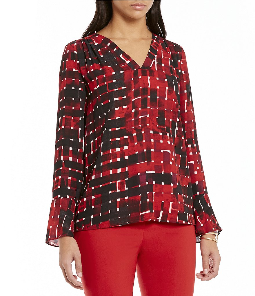 Preston & York Isabela Long Sleeve V-Neck Blouse
