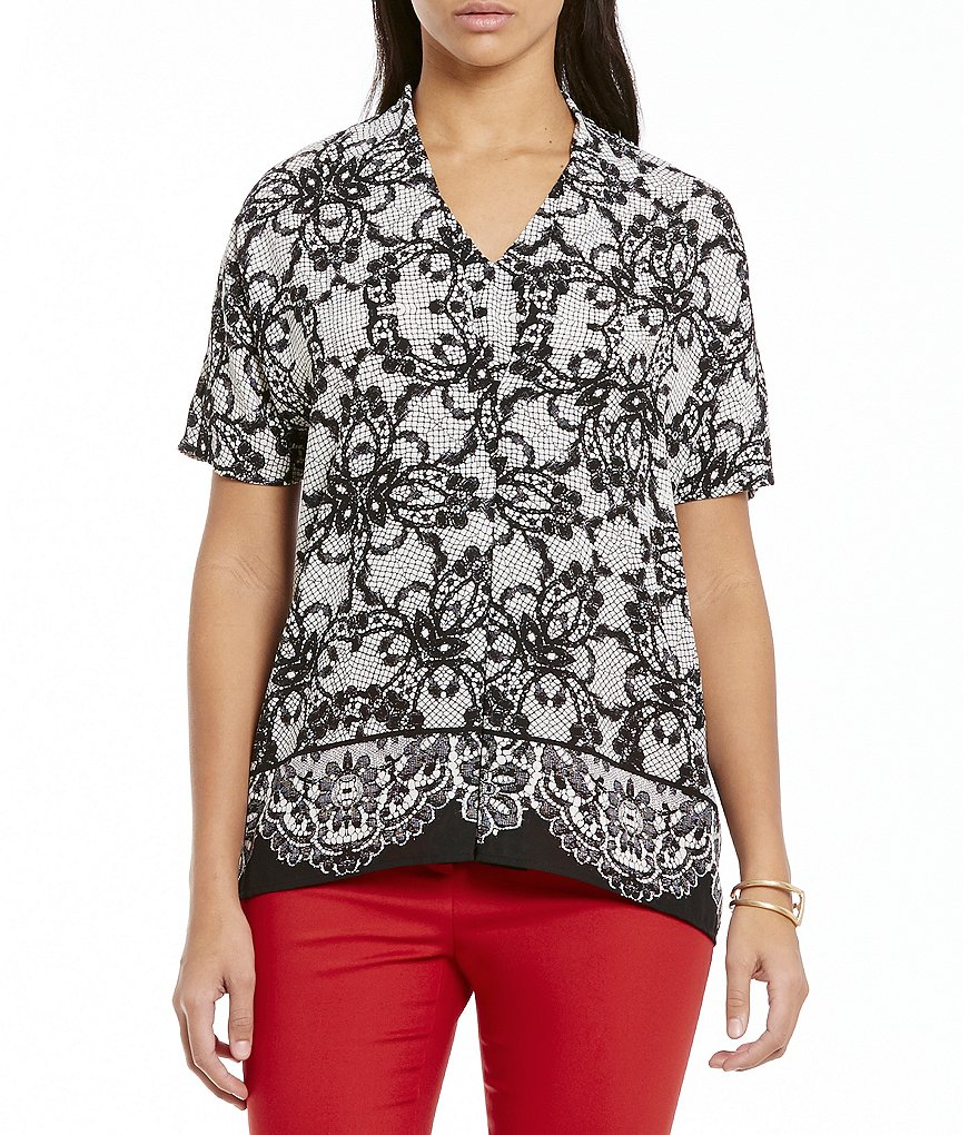 Preston & York Ivy Lace Print Pleated Blouse