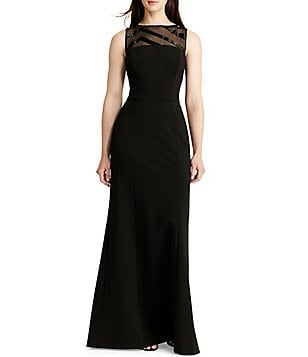 Lauren Ralph Lauren Illusion Sequin Mesh Neck Sleeveless Gown