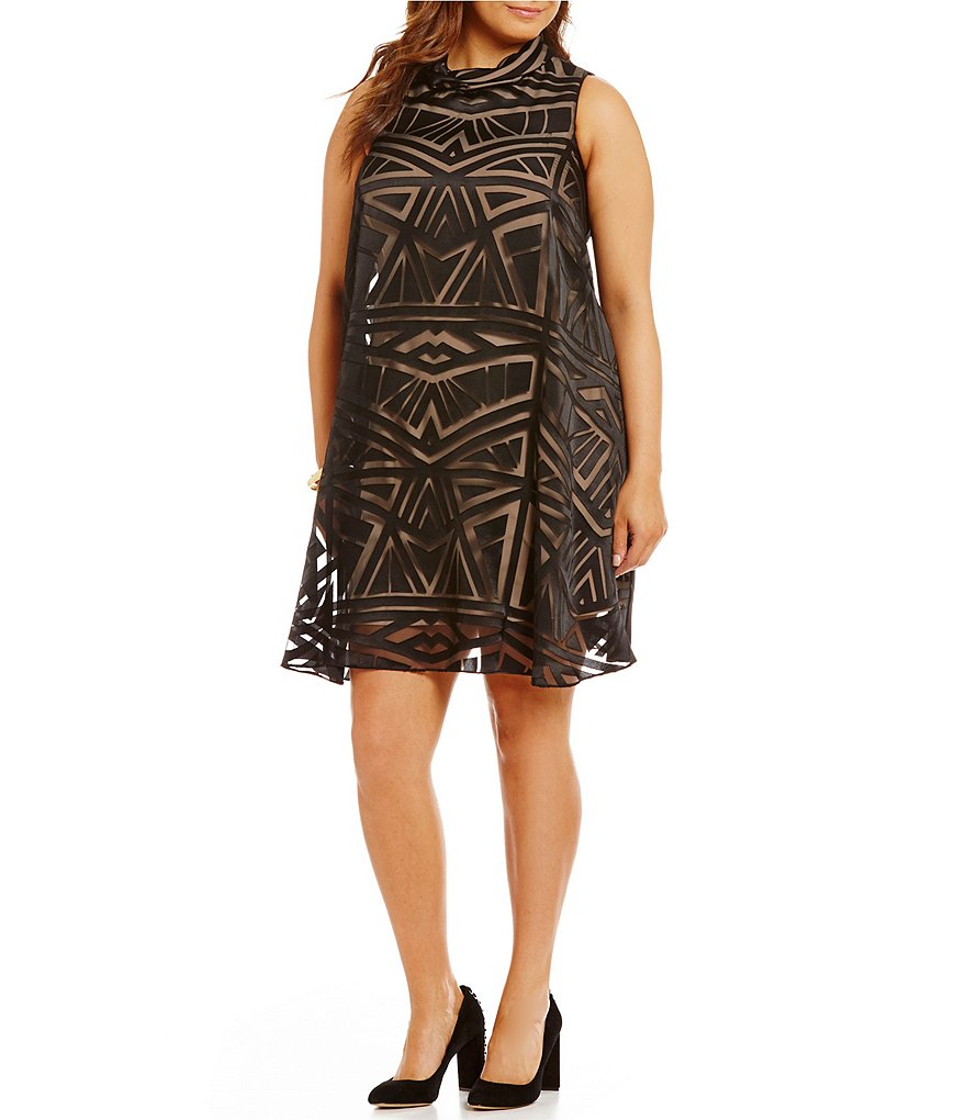 Vince Camuto Plus Roll Collar Float Burnout Dress