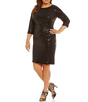 Vince Camuto Plus Sequin Knit Sheath 3/4 Sleeve Dress