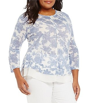 Multiples Plus 3/4 Sleeve Flounce Hem Floral Top