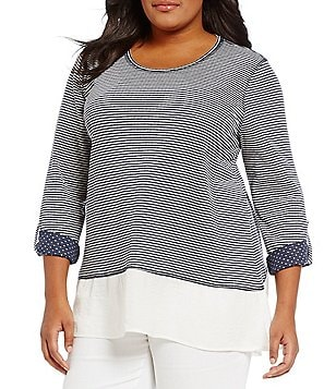 Multiples Plus Roll-Tab Sleeve Hi-Low Knit Top