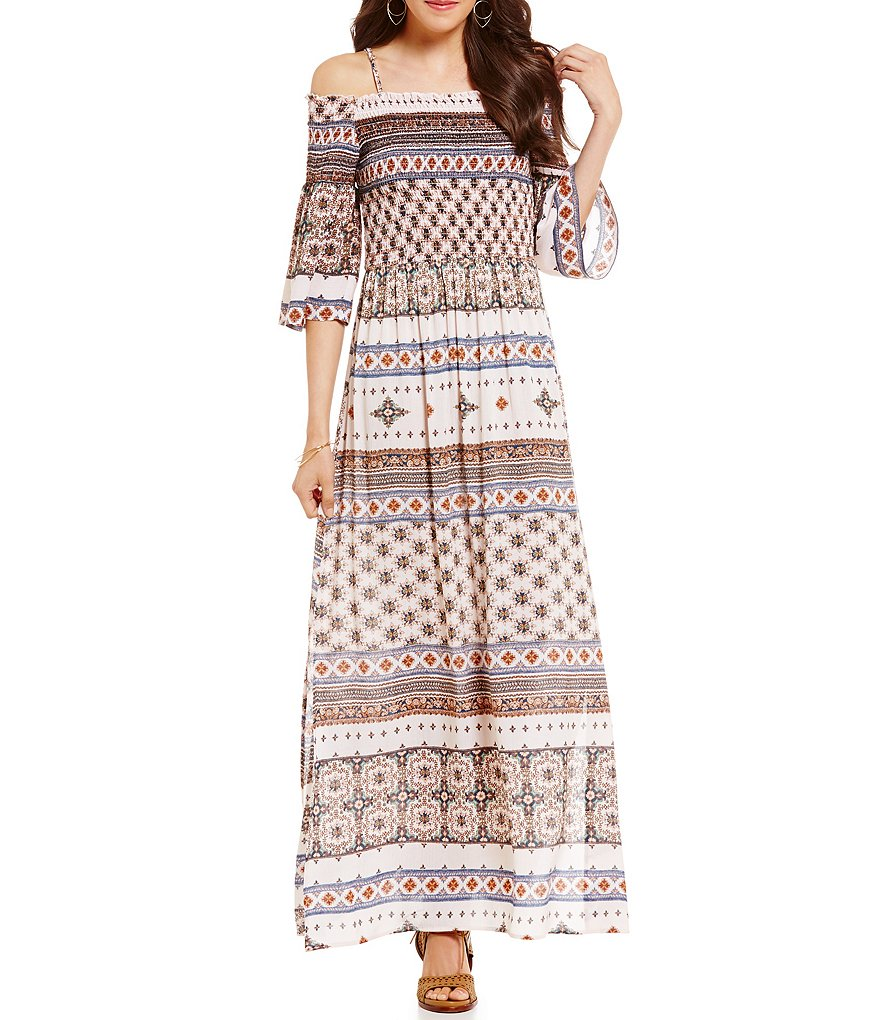 C&V Chelsea & Violet Printed Smocked Off-The-Shoulder Maxi Dress