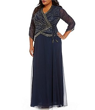 Jkara Plus Beaded V-Neck 3/4 Sleeve Wrap Chiffon Skirt Gown