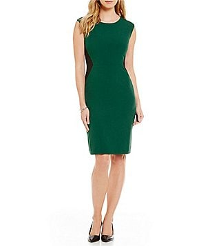 Kasper Stretch Crepe Colorblock Sheath Dress