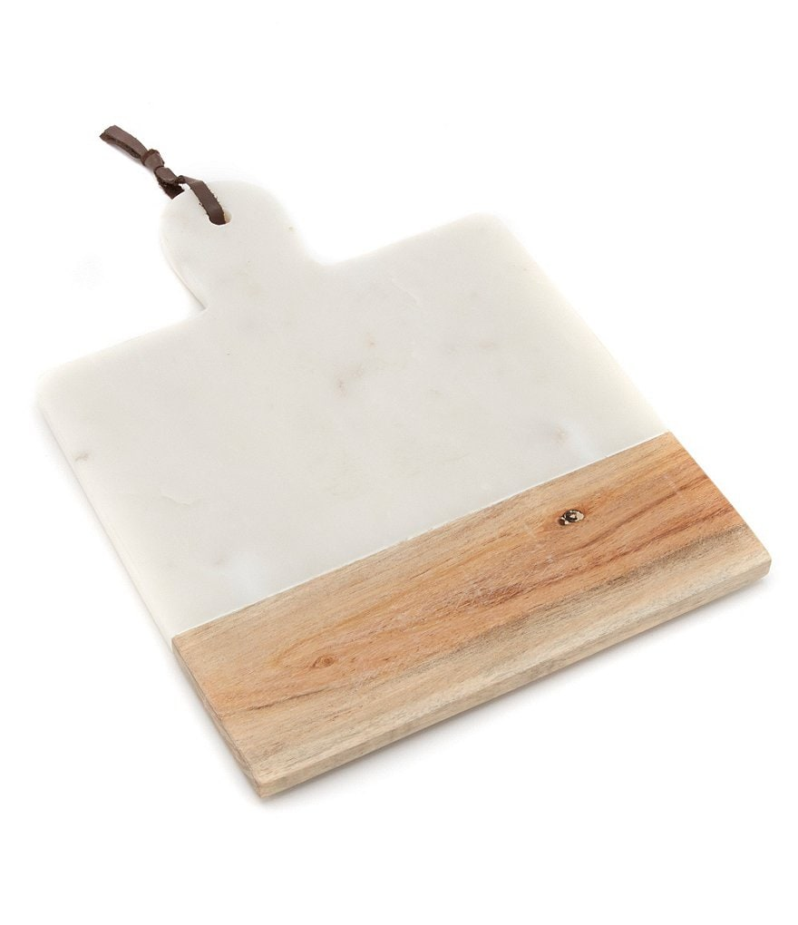 Southern Living Marble & Wood Paddle Cheese Board