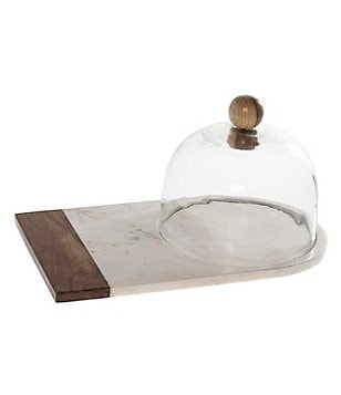 Southern Living Marble & Wood Platter with Glass Dome