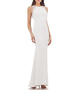 Carmen Marc Valvo Infusion Sequin Illusion Back Crepe Gown