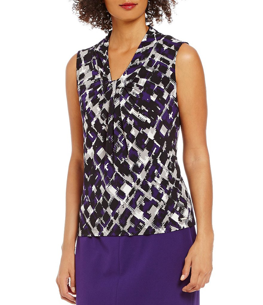 Calvin Klein Block Grid Print Knotted V-Neck Matte Jersey Shell