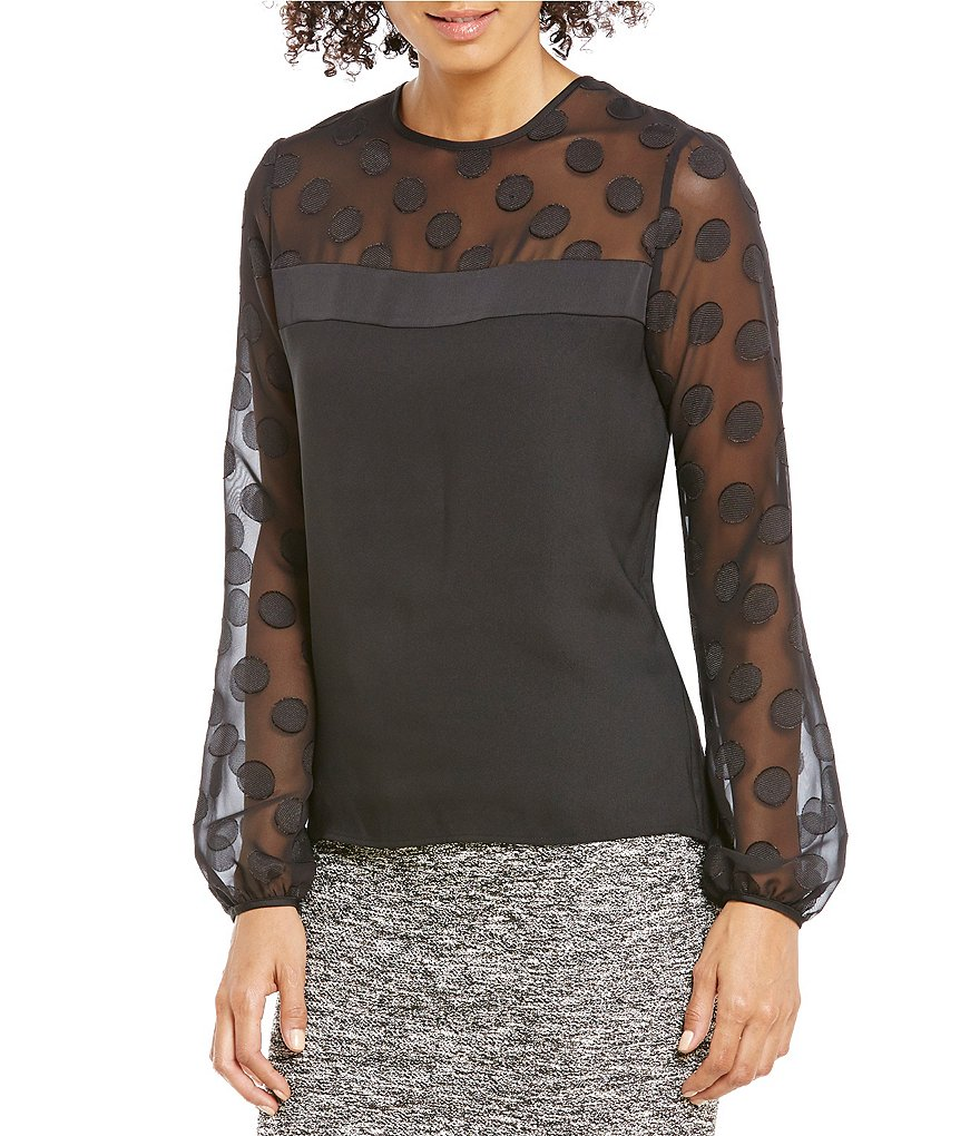Calvin Klein Long Sleeve Clipped Dot Crepe De Chine Blouse