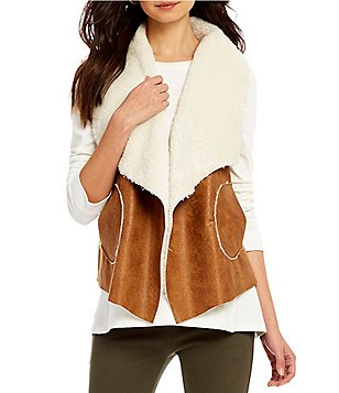 Westbound Faux-Fur Dual Pocket Open Neck Vest