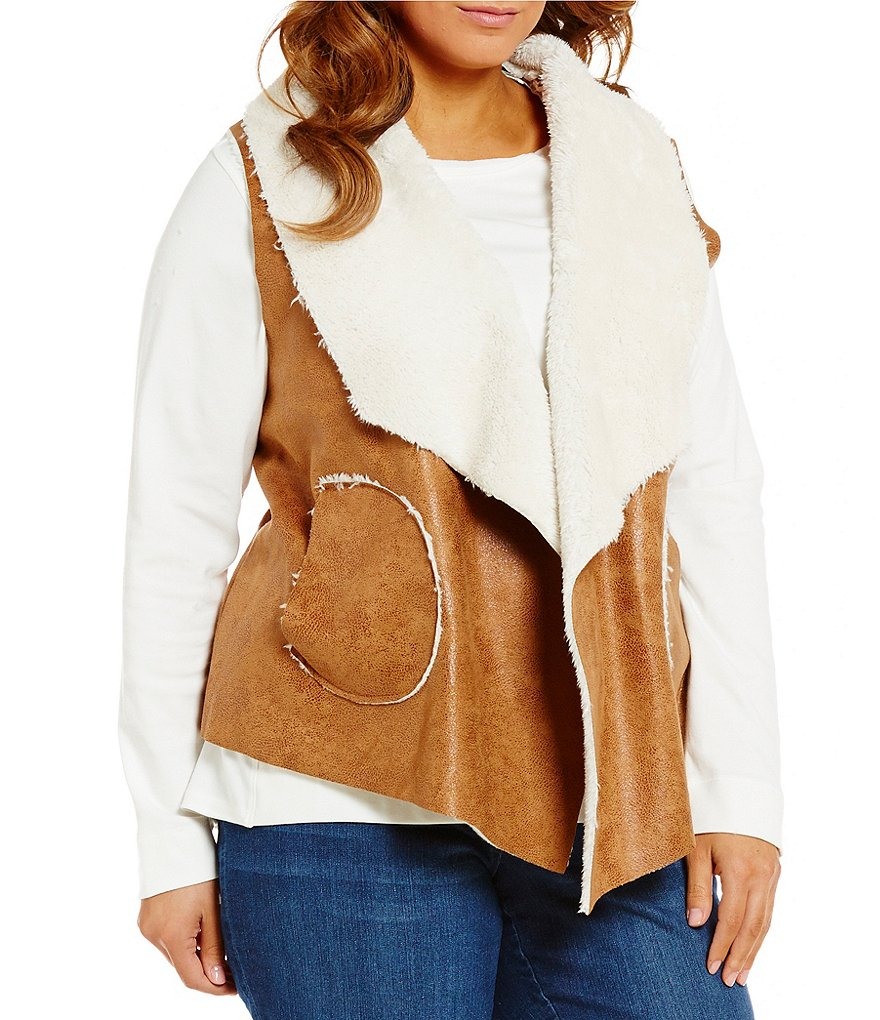 Westbound Plus Lined Open Front Faux-Fur Dual Pocket Vest
