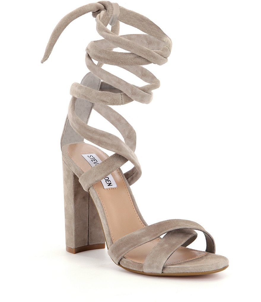 Steve Madden Christey Suede Criss Cross Tie Up Block Heel Sandals