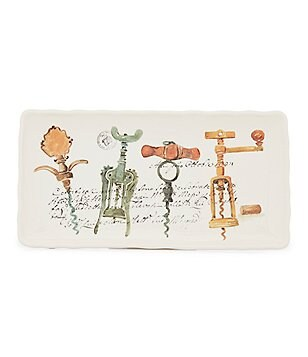 Noble Excellence Corkscrew Decal Wavy Rectangular Platter