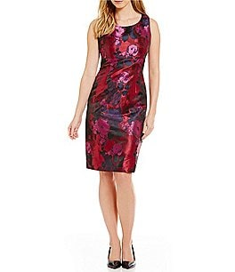 Kasper Floral Jacquard Sleeveless Sheath Dress Image