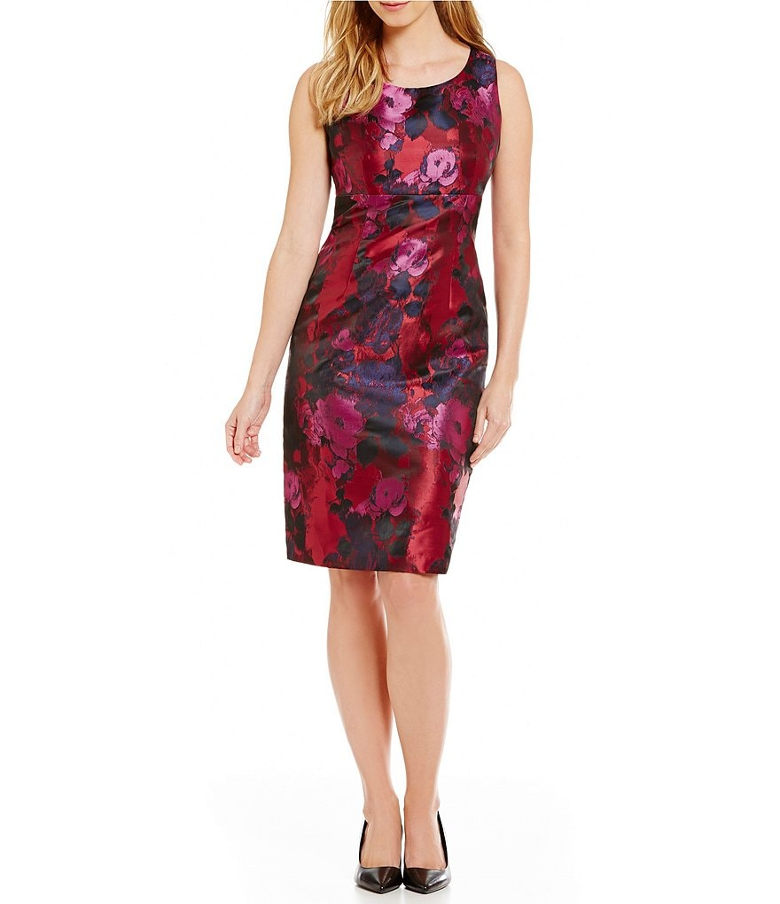 Kasper Floral Jacquard Sleeveless Sheath Dress