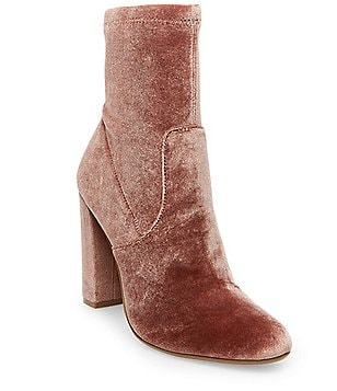 Steve Madden Edit Velvet Side Zip Block Heel Booties