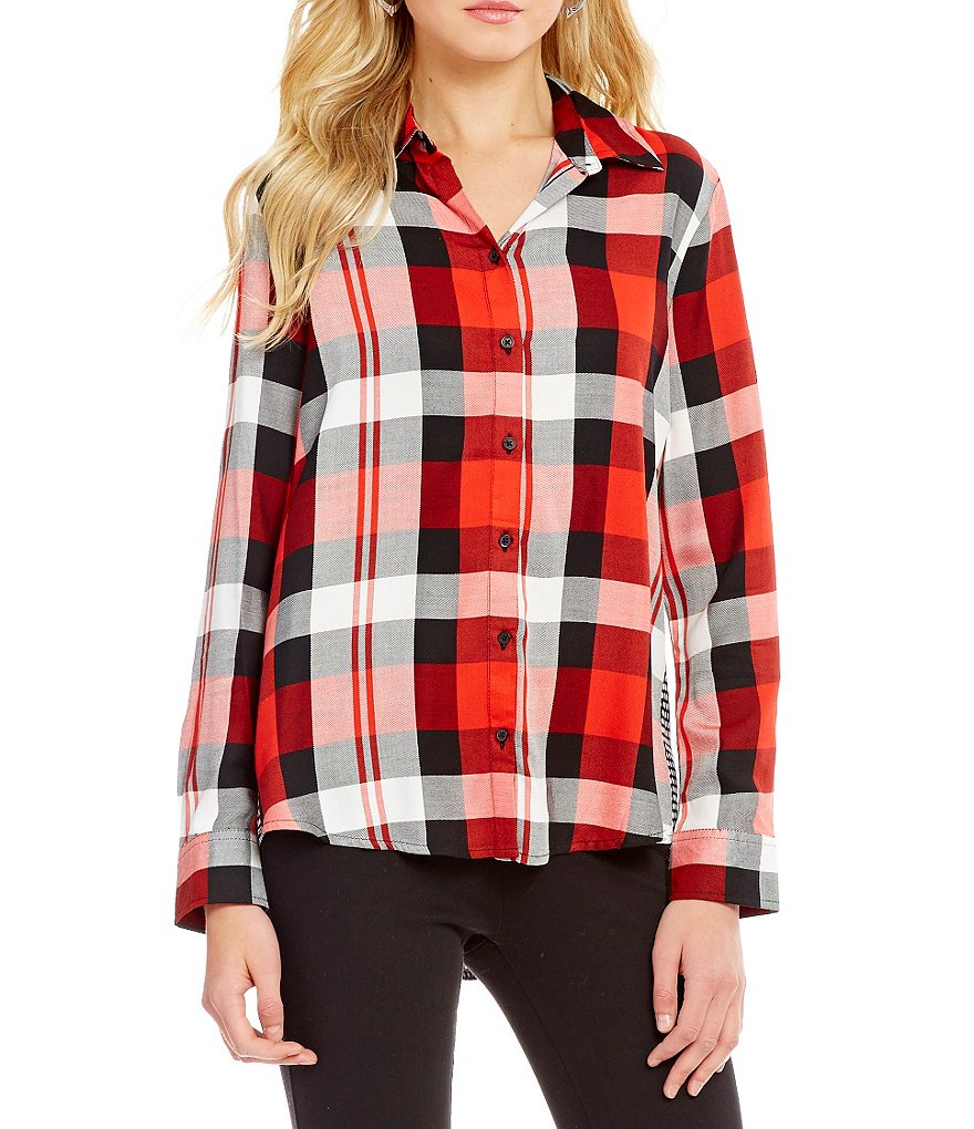 Westbound Long Sleeve Twin Plaid Print Button-Front Shirt