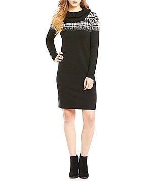 Pendleton Cowl Neck Plaid Yoke Sweater Dress