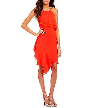 Laundry by Shelli Segal Stretch Crepe Asymmetric Ruffled Halter-Neck X-Back Sleeveless Dress