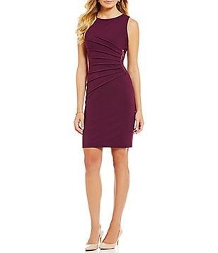 Ivanka Trump Sunburst Pleated Zipper-Trim Ponte Knit Sheath Dress