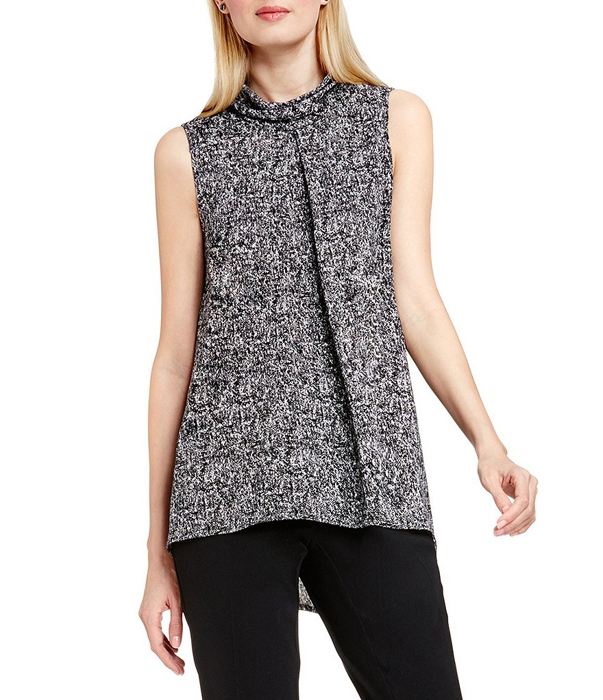 Vince Camuto Sleeveless Mock Neck Texture Blouse