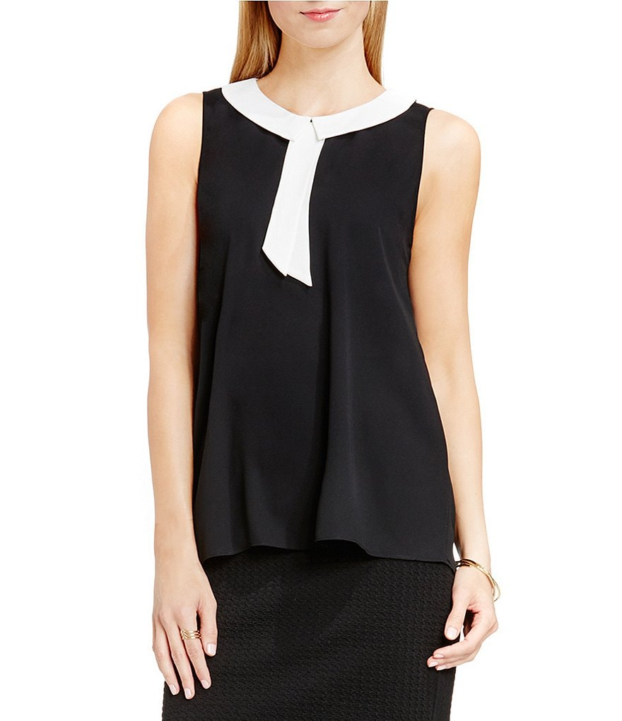 Vince Camuto Blouse with Contrast Collar and Neck Tie