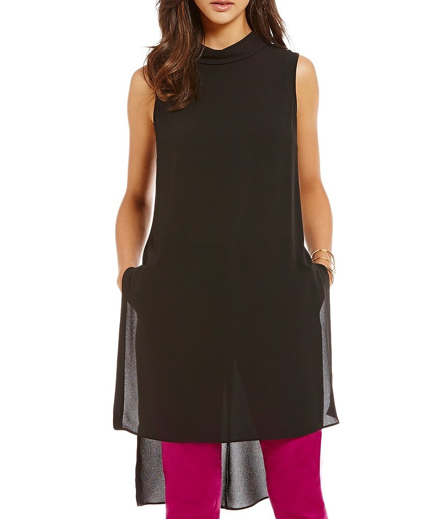 Vince Camuto Mock Neck Side Slit Long Tunic