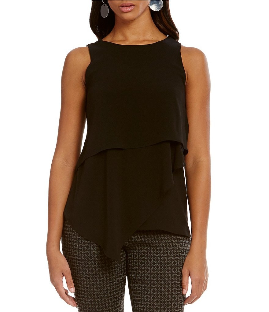 Vince Camuto Asymmetrical Layered Sleeveless Blouse