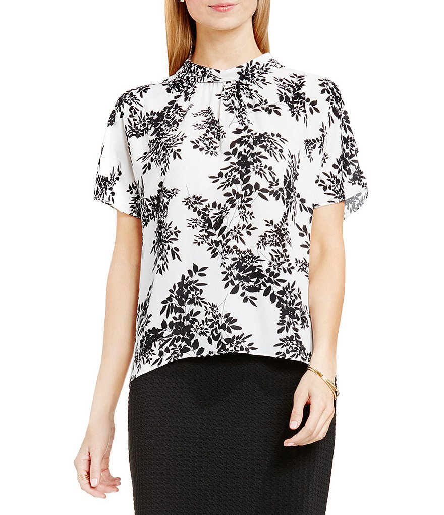 Vince Camuto Delicate Foliage Mock Neck Blouse