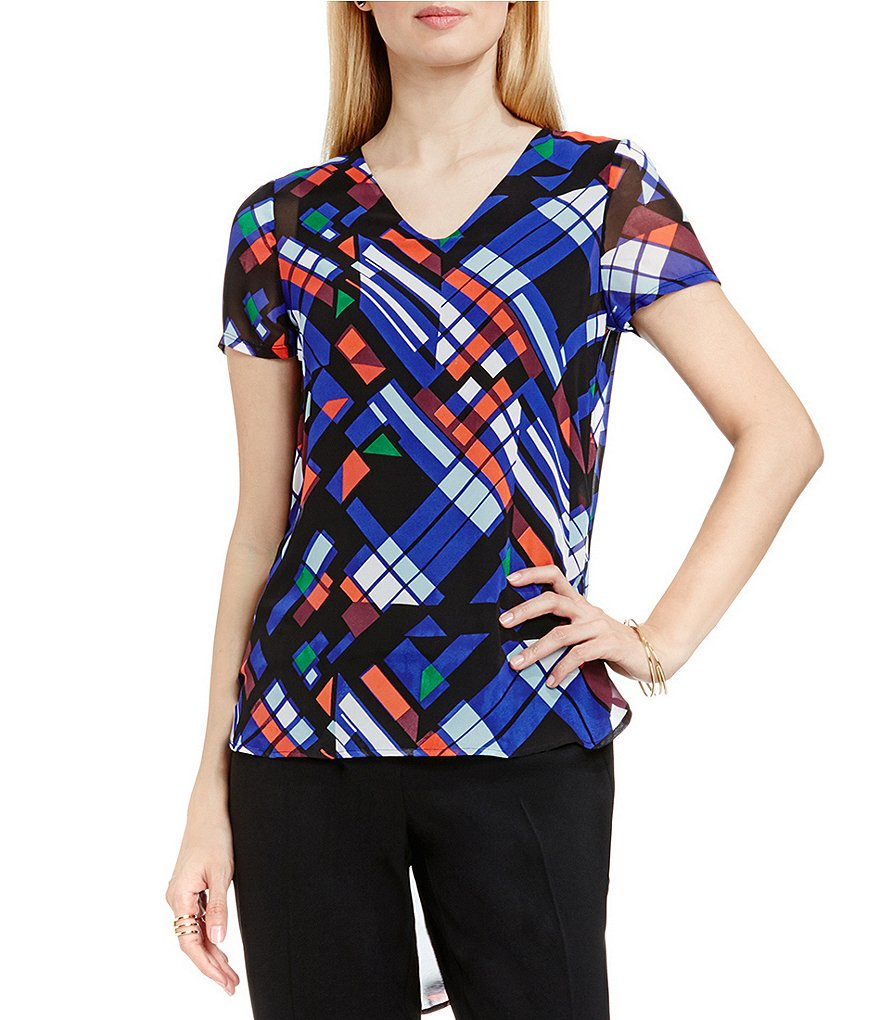 Vince Camuto Graphic Map Shirttail Blouse
