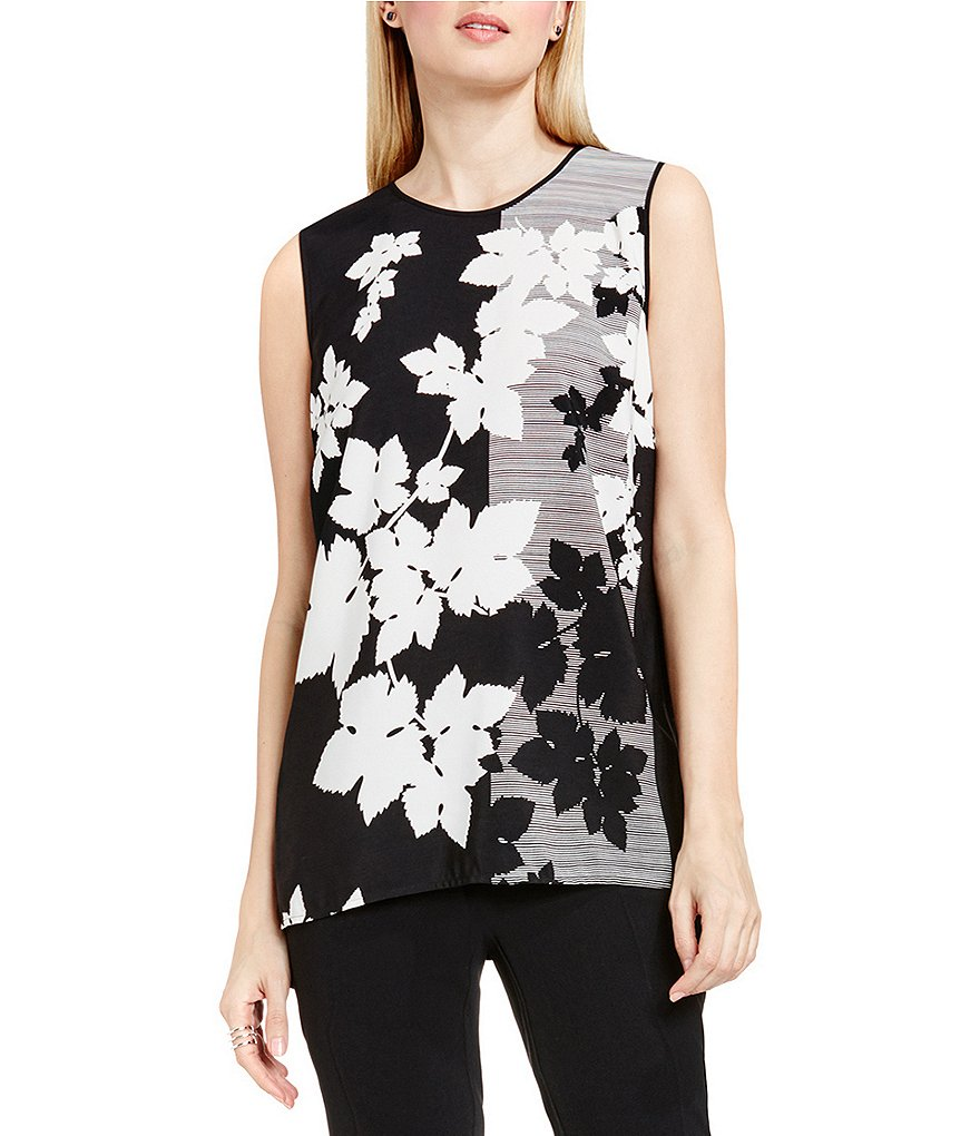 Vince Camuto Floral Screen Mix Media Top