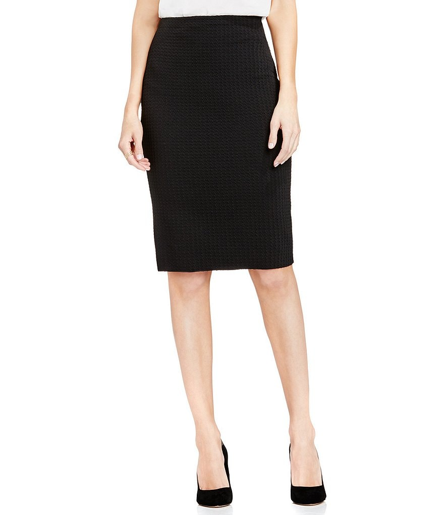 Vince Camuto Houndstooth Texture Pencil Skirt